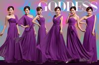 ingrosso abiti da damigella d'onore lunghezza del tè marrone-2019 Purple Bridesmaids Dresses 6 Styles Strings pieghe Elegante Ruffles Chiffon Designer lungo Plus size pavimento-lunghezza abiti da damigella d'onore