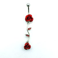 Wholesale Barbell Belly Button - Body Piercing Belly Button Rings Fashion Stainless Steel Barbell Dangle Red Rhinestone Double Rose Navel Rings Jewelry