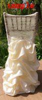 marcos de la cubierta de la silla de encaje de marfil al por mayor-2015 de encaje con volantes de tafetán silla de marfil marcos de la boda de la vendimia decoraciones hermosa silla cubre romántica boda accesorios