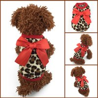Wholesale Baby Leopard Bows - Wholesale-Size XXXS   XXS   XS   S 1Pcs New Red   Pink Bow-knot Leopard Coral Velvet Warm Winter Baby Pet Dogs Clothing Puppy Sweaters