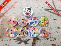 Wholesale Mixed Accessories - Free Shipping 200pcs 13mm Multicolour Mixed Cartoons Wooden Buttons For Jewelry Bay Toy Headwear Sewing Accessory Buttons XYM-20