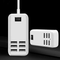 ingrosso presa a muro per porta-Caricatore USB da tavolo HUB 6 Porte US EU UK Presa a muro Presa da tavolo Prolunga di ricarica rapida Adattatore di alimentazione per tablet cellulare