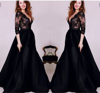 Wholesale Satin Lace Sleeve - Formal Black Lace Long Sleeves Evening Dresses Satin Floor Length V neck Sexy See Through Party Gowns Custom Made 2016