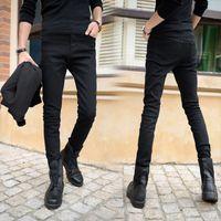 Wholesale Cheap Plus Size Korean Fashion - Wholesale-Hot Sale Korean Fashion Designer Stylish Men Casual Black Denim Skinny Jeans Stretch Cheap Pencil Trousers Fitness Man Size27-36