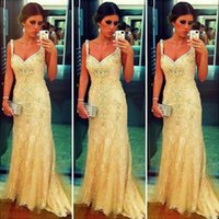 Wholesale Lace Crystal Mermaid Prom Dresses - 2016 Spaghetti Strap Mermaid Evening Dresses Lace embroidery with shiny crystals arabic celebrity dress Formal Gown Prom Dress