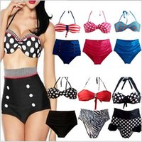 Wholesale Lycra Swim Bottoms Wholesalers - 10 color 2015 sexy Women neoprene Fringe Bikini Swimwear high waist belly neck wave swimsuit Lady Swimming bathing Top Bottom BBB2722