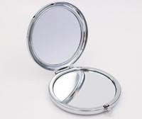 grands miroirs achat en gros de-Nouveau miroir de poche Argent blanc miroirs compacts Idéal pour bricolage miroir de maquillage cosmétique Cadeau de fête de mariage
