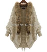 Wholesale Shawl Collar Cashmere Sweater - Free Shipping 2014 Fashion Loose fur collar bat sleeve shawl cardigan unique bow jacket sweater FT1294