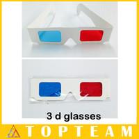 Wholesale Lens 3d Blue - Hotsale Convient 100pcs lots 3D Paper Glasses For 3D Movies Red Blue Lens With OPP Package Free DHL