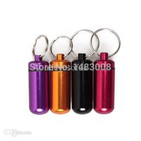 Wholesale Trendy Pill Boxes - Wholesale-Mini Aluminum Pill Medicine Box Case Bottle Holder Container Keychain Key Chain Organizer High Quality