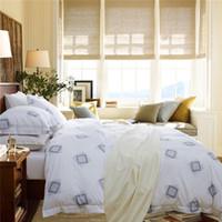 Wholesale Designer Lingerie - Wholesale-2015 Wholesale Bed Satin Lingerie Double Bed Quilt Designer Bedding Sets Plaid Duvet Cover Sets basic Cotton Fabric