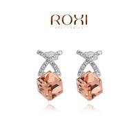 Wholesale Orange Earrings Studs - 015 ROXI 2014 New Fashion Jewelry Platinum Plated Statement X Cross Orange Stone Stud Earrings For Women Party Wedding Free Shipping