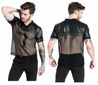 Wholesale v neck undershirts - S-XL Fashion New Male Black Leather Fishnet Tops Undershirt Erotic See Through V-Neck Mesh T-Shirt Strong Popular Men Fitness Costume