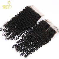 Top Quality Virgin Malaysian Curly Encerramento Weave Natural Cor 4 * 4 Tamanho barato da Malásia Kinky Curly Lace fechamento Grau 6A Lace Top Closures