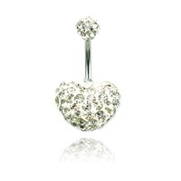 Wholesale surgical steel belly button rings resale online - Fashion Belly Button Rings Color Shambhala Rhinestone Double Heart Surgical Steel Navel Body Pierecing Jewelry