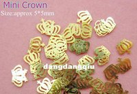 Wholesale Nail Crown Stickers - Wholesale-Free Shipping 1000pcs lot Gold Nail Art Mini Crown Metal Slice Sticker Decoration