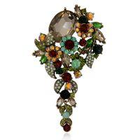 Wholesale large brooch flower pins - Elegance Crystal Rhinestone Flower Brooch Pin Women Garment Large Size Fashion Vintage Jewelry Gift 2017