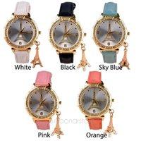 relógio de cristal da torre eiffel venda por atacado-Nova Moda Casual Relógio de Luxo Mulheres Relógios De Couro relógio de cristal feminino Torre Eiffel Vestido De Quartzo Relógios