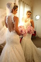 Wholesale Beaded Mermaid Tulle Wedding Gown - 2016 Spring Beaded Full Lace Mermaid Wedding Dresses Vintage High Neck Sequin Tulle Plus Size Bridal Gowns Custom Made Vestidos Longo