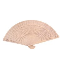 Wholesale Wholesale Carvings - Hot Sale Vintage Style Chinese Folding Hand Fan Summer Bamboo Fragrant Wooden Hollow Art Carved Wedding Dancing Party Decor