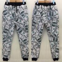 Wholesale Boys White Sweatpants - free shipping New men women Boy sport jogging pants 3D funny print USA dollar parkour running sweatpants long sleeve joggers