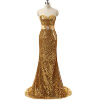 Wholesale Gold Crystals Mermaid Dress - Real Photo Gold Sequin Mermaid Dresses Evening Wear Sweetheart Crystals Beaded Lace Up Back Cheap Formal Party Prom Gowns Cheap For Women
