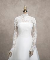 Wholesale Elegant Wedding Bolero - Newly Ivory Lace Bridal Jacket Sheer High Neck Fashionable Elegant Wedding Bridal Jackets Applique Long Sleeve Real Image 2016
