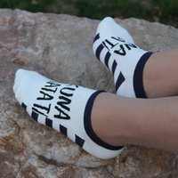 Wholesale Wholesale Promotional Sock - Wholesale-2015 summer Sock Slippers fashion 5 colors Girls' lovely Letter socks Ankle Low Cut Sport Cotton Socks Slippers Promotional
