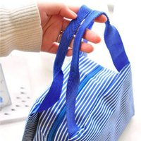 Wholesale Korean Kids Cloths - Wholesale-Korean Fanshion Waterproof Stripe Thermal Lunch Storage Cloth Bag Bento Lunch Box for Kids(1 piece lot)