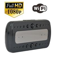 ip ir remoto venda por atacado-T10 HD 1080 P relógio da câmera Sem Fio WI-FI Relógio de Rede P2P IP Câmera IR Night vision Alarm Clock câmera de vigilância remota