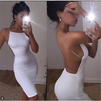Sexy Backless Women Dresses Черные белые летние платья Slash Neck sequin Chain Knee Length Bodycon Beach Mini Club Party Dresses Vestidos
