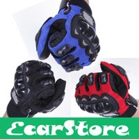 Wholesale Bicycle Racing Gear - Wholesale-Cycling Bicycle Motorcycle Outdoors Sports Full Finger Protective Gear Racing Gloves Blue Black Red XXL XL L M