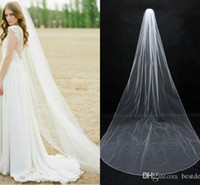 Wholesale one layer chapel length veil for sale - Group buy 2017 Newest One Layer With Comb Veil Re embroidered Soft Tulle Bridal Veil Ivory Lace Scallop Veil Wedding Bridal Accessories CPA077