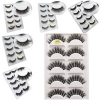 Wholesale lash extension kits wholesale - 5 Pairs 3D Mink Lashes Natural False Eyelashes Thick Long Black Soft Eye Makeup 3D Eyelash Extension Kit Mink Eyelashes 6 Styls Dropshipping