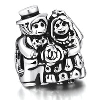 Wholesale Happy Bride - Happy Bridegroom And Bride Beads European Charms Fit For 925 Sterling Silver Snake Chain Bracelet DIY Jewelry