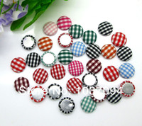 Wholesale Handmade Garment Covers - 200pcs Round Fabric Covered Button Flatback Grid Cloth Button Jewelry Accessories for Handmade DIY Garment 12mm