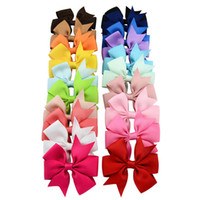 Wholesale Accessories Clip Art - XS 20 Colors Handmade Girl Baby V Rib Ribbon Cloth Art Bowknot Hairpin Hair Accessories Children Tire Jewelry Wholesale
