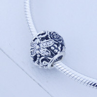 Wholesale Dragonfly 925 Sterling Silver Beads - Fits Authentic Pandora Bracelet 925 sterling silver beads Openwork silver dragonfly charm with CZ Original 1: 1 DIY women Fine jewelry