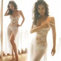 Wholesale Elegant lace corset dress Princess V deep sexy lingerie high slits on behalf of