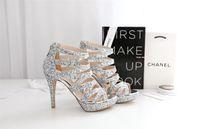 Wholesale Vintage Silver Sequins and Sheepskin Wedding Shoes Vinculum Party Dance High Heels Women Sandals Short Wedding Boots K1160