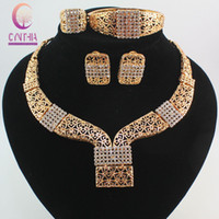 Wholesale New Gold Finds - New Nobler Dubai Design Fashion Costume Crystal Necklace Find Dubai 18K Gold Plated Gorgeous Shining Jewelry Sets