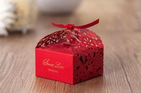 Wholesale Red Favor Boxes For Weddings - Red Laser Cut Hollow Flora wedding party favours gift boxes baby shower paper Candy Favor Boxes With Bow for Wedding Party Table Decoration