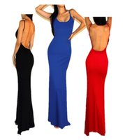 Wholesale Solid Black Mermaid Prom Dress - 2014 New Sexy Women Strap Backless Jersey Minimalist Mermaid Open Back Slip Beach Casual Long Maxi Party Prom Dress Wholesale