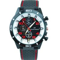 gt silikon quarzuhr großhandel-Heiße neue Männer Sportuhr Grand Touring GT Silikonband Quarz Armbanduhr Bewegung Militäruhren