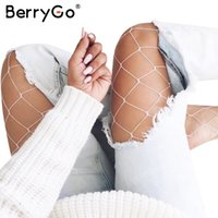 Wholesale Colorful Fishnet - BerryGo Sexy hollow out white fishnet stocking female Casual summer 2017 plaid women pantyhose Slim party club colorful tights q171118