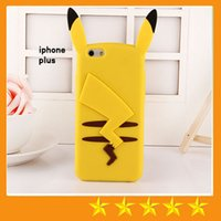 Wholesale Iphone Covers Rubber Skin Gel - Cartoon Poke Pikachu Soft Silicone Gel Case Rubber Cute Phone back Cover Skin for iphone 7 Plus 5 5S SE 6 6S Plus