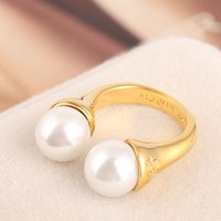 Wholesale Open Combination - Hot sale brass material Opening Ring Mid Finger Knuckle Rings with pearl 1.1cm beads spring combination Rings Geometry Style Jewelry PS6414