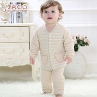 Wholesale Newborn Long Johns - Wholesale-The newborn baby clothes 0-1-2 years old baby underwear baby warm long johns home suit