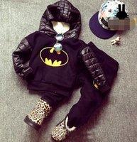 Wholesale Black Velvet Long Coat - 2015 Children Boys Velvet Monster Batman Long Sleeve Hoodies + Pants 2 pcs Outfits Black Kids Tops Warm Sport Cartoon Set