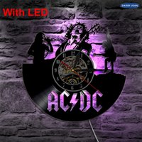 Купить Освещение Acdc-ACDC Rock Band Wall Vinyl Clock Led Wall Lighting Цвет Изменение Vintage LP Record Decor Handmade Light Home Decorative
